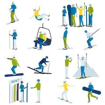 Ski resort people  icons set