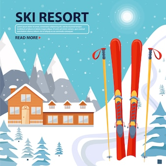 Ski resort poster illustration with wooden house and ski equipment on snowy landscape with mountains