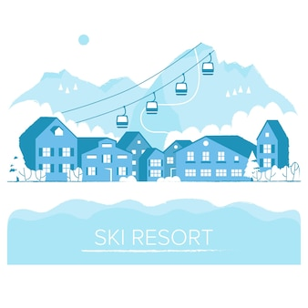 Ski resort vacation with ski lift winter outdoor holiday activity sport in alps