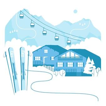 スキーリフトでのスキーリゾート休暇アルプスの冬の屋外ホリデーアクティビティスポーツ