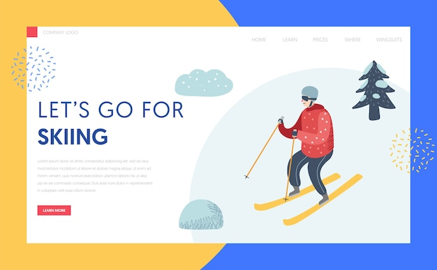 Ski resort winter holidays landing page template. active man character skiing in mountains for website or web page. outdoor activities concept. vector illustration