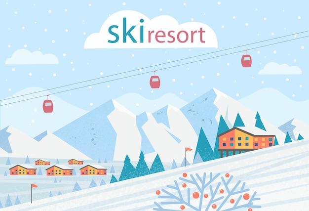 スキーリゾート。スキーリフト、山、家のある冬の風景。ベクトルフラットイラスト。