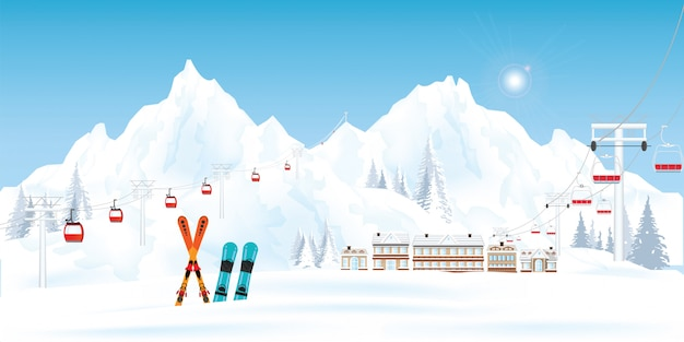 Ski resort with cable cars or aerial lift and ski-lift.