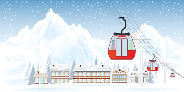 Ski resort with cable cars