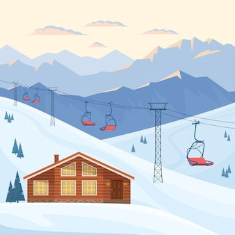 Ski resort with red chair lift