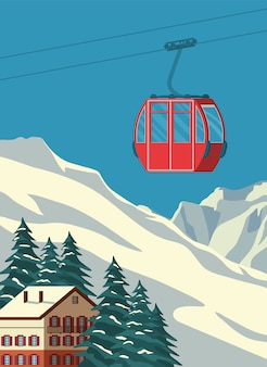 Ski resort with red gondola lift, chalet, winter mountain landscape, snowy slopes. alps travel retro poster, vintage. flat illustration.