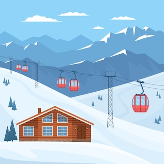 Ski resort with red ski cabin lift on cableway, house, chalet, winter mountain landscape, snowy peaks and slopes.  flat illustration.