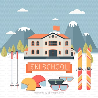 Ski school background with accessories in flat design
