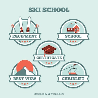 Ski school rounded stickers pack