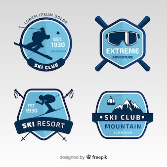 Ski silhouette winter badge collection