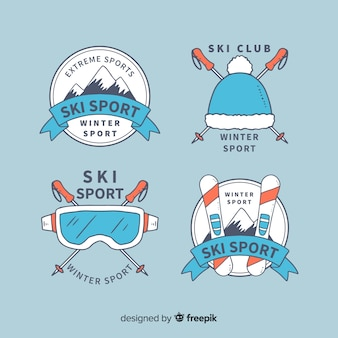 Ski sport badges collection