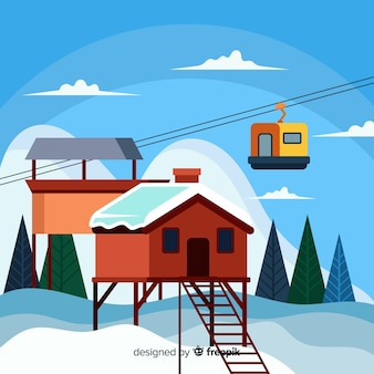 Ski station background