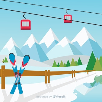 Ski station background