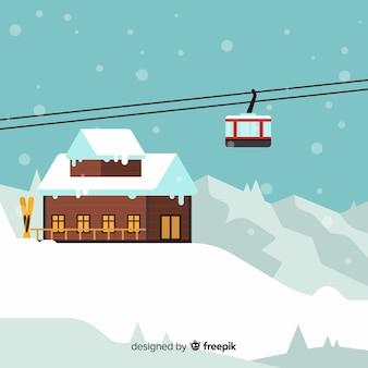 Ski station flat background