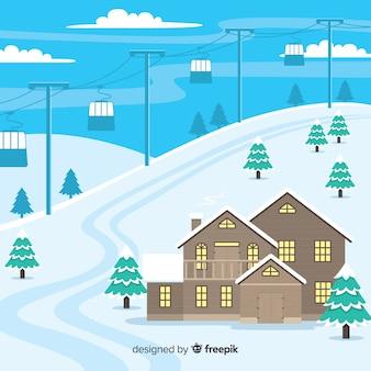 Ski station flat illustration