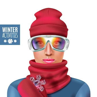 Ski suit winter woman illustration