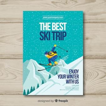Шаблон флаера для поездки на лыжах