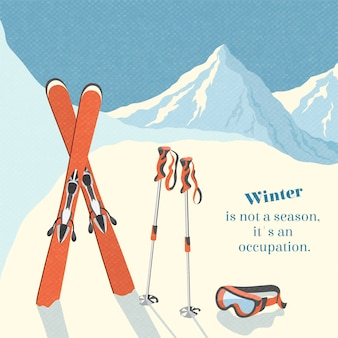 Ski winter mountain landscape background retro poster