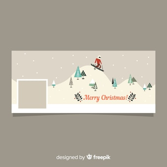 Skier christmas facebook cover