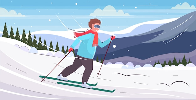 Skier man sliding down overweight guy skiing winter activity weight loss concept snowy hill fir tree forest landscape background flat horizontal