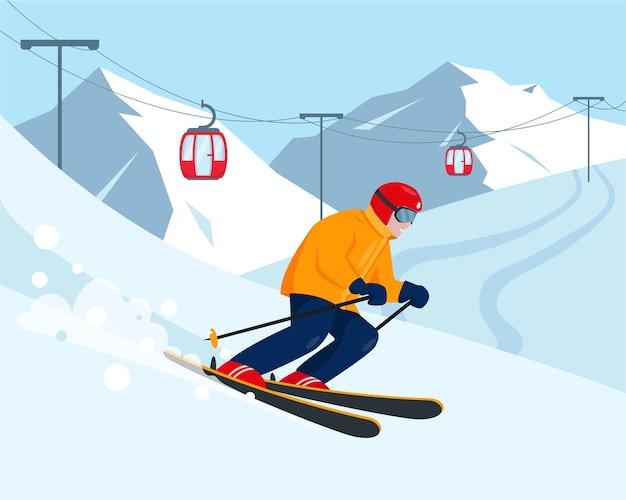 Skier in the snow mountains ski resort and winter sport concept