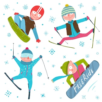 Skier snowboarder winter sport seasonal collection with snowflakes