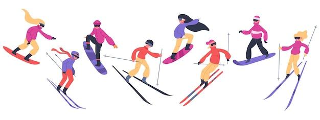 スキーヤーとスノーボーダー。冬のスポーツ活動、スノーボードの人々、若いスキーヤーとスノーボーダーが山のイラストセットにジャンプします。極端な雪の山、スノーボード、スノーボード