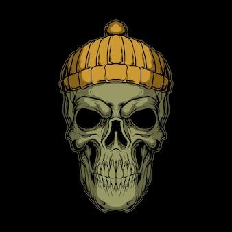スキーヤーの頭蓋骨のイラスト