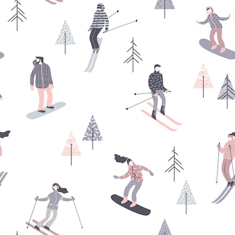 Skiers and snowboarders. seamless pattern.