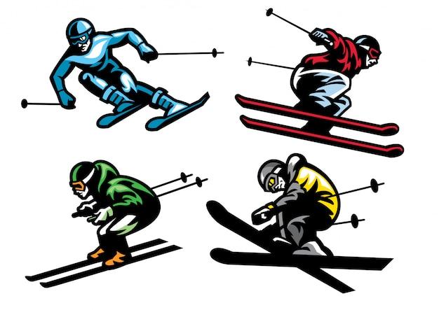 Skiing athletes in set