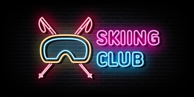 Лыжный клуб логотип неоновые вывески вектор