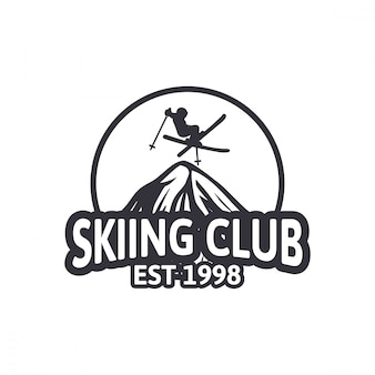 Skiing club vintage design badge logo emblem patch club team Premium Vector