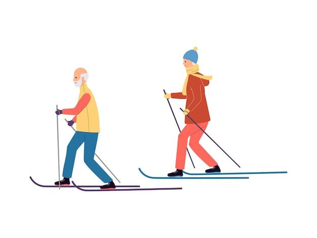 Катание на лыжах пожилая пара героев мультфильмов плоская иллюстрация