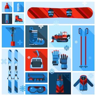Skiing equipment element set