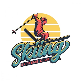 Skiing extreme club logo in vintage style