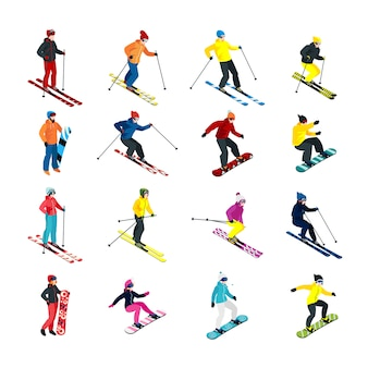 Skiing isometric set