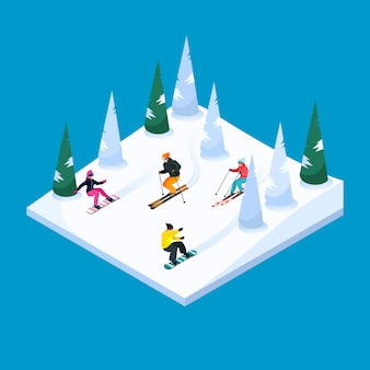 Skiing landscape isometric element