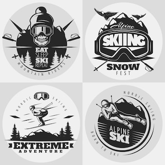 Skiing logo  composition