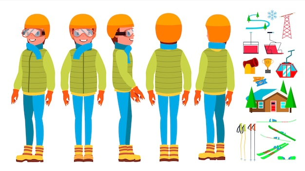 Skiing man male character set