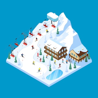 Skiing mountain isometric landscape