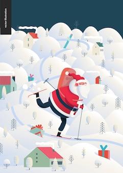 Skiing santa claus - christmas and new year greeting card
