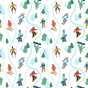 Skiing and snowboarding seamless pattern.