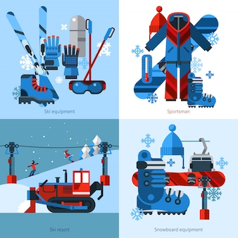 Skiing vector images design concept
