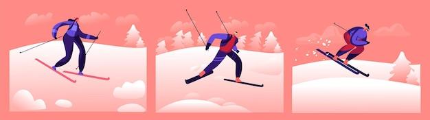 スキーウィンタースポーツアウトドアスペアタイム。キャラクターは、雪と木が降る自然の背景にスキーで下り坂を行く暖かいスポーツコスチュームとゴーグルを着用します。漫画の人々のベクトル図