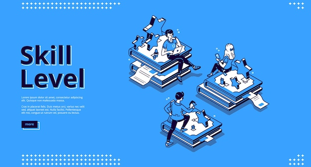 Skill level isometric landing page. professional education and knowledge concept with tiny characters sitting on huge book piles using gadgets for reading and studying. 3d line art banner