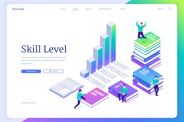 Skill level isometric landing page tiny characters sitting on huge books reading and studying upgrad...