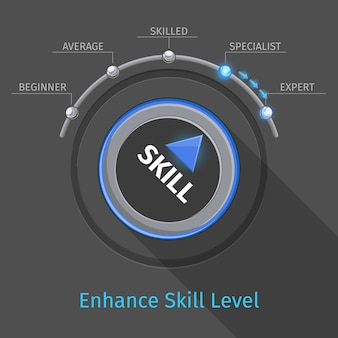 Skill levels vector knob button or switch. education and proficiency, test expertise illustration