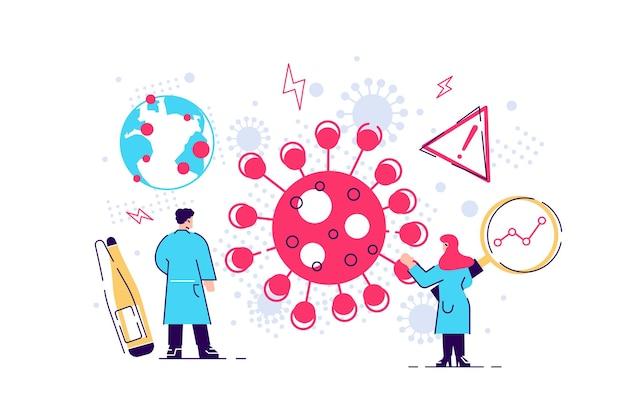 화이트 코로나 바이러스와 싸우는 숙련 된 의사