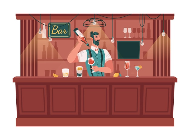 Skillful bartender serving cocktails and mixing drinks barman with glasses and bottles of alcohol