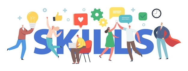 Skills in business concept. tiny male and female characters, office workers empathy, communication, idea development and education at work poster, banner or flyer. cartoon people vector illustration